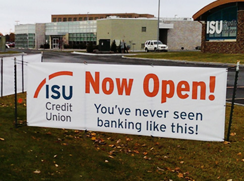 Now Open Banner for ISU Credit Union