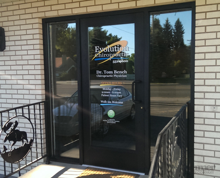 Evolution chiropractic door decals turner sign co for Door vinyl design