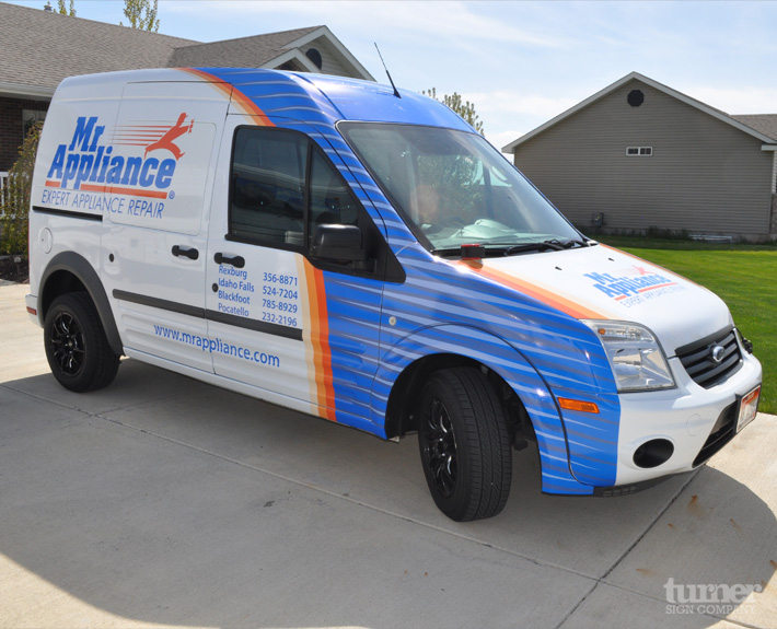 Front quarter of ford van wrap