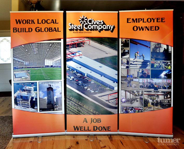 retractable banner stands for cives job fair and trade show