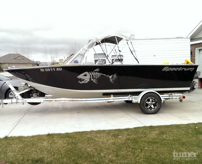 Black Vinyl Boat Wrap for Fishing Boat