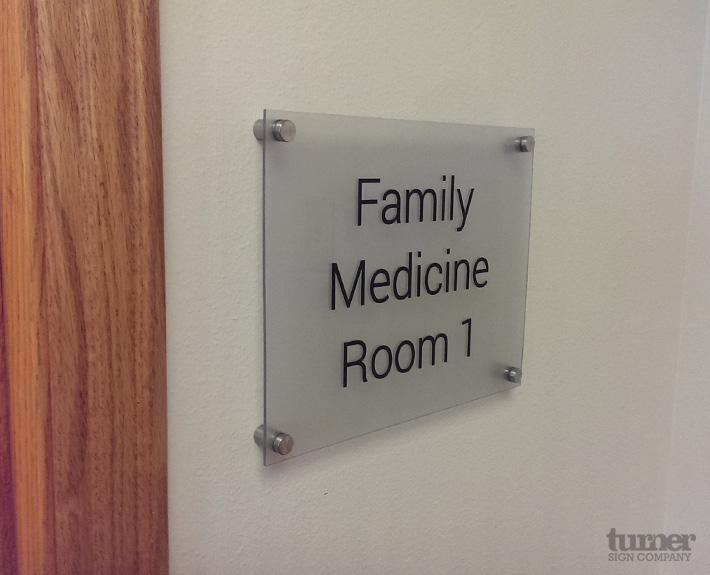 Indoor Sign with stainless steel standoffs