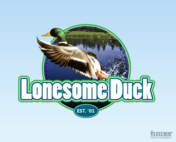 Logo design with greens blues and a duck