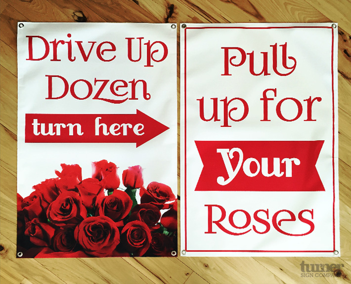 Drive up dozen roses valentines day banner