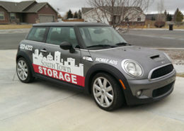 mini cooper wrap decals for south town storage in Idaho Falls